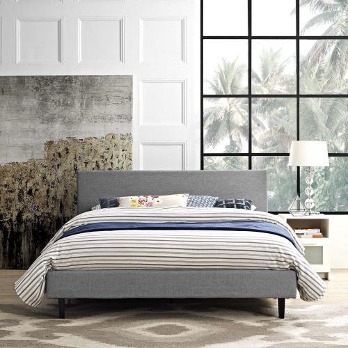 Anya Full Fabric Bed in Light Gray