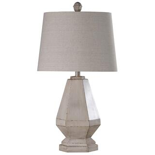 Storico  Traditional Weathered White Painted Base Carved and Casted Table Lamp  100 Watts  3-Way