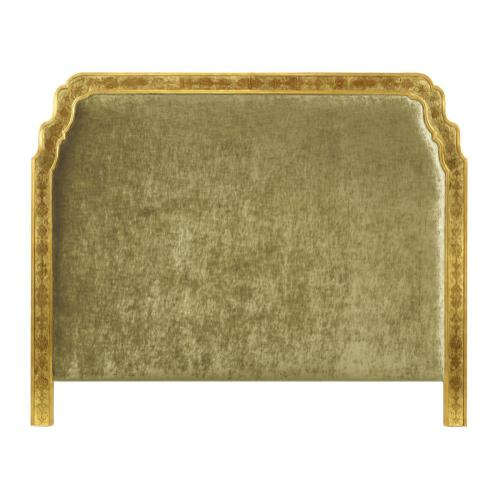 US King Gilded & glomise Headboard, Upholstered in Lime Velvet