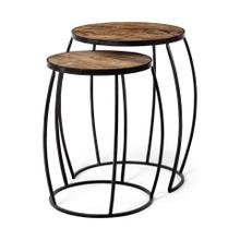 Clapp IV (Set of 2) 20L x 20W Brown Round Wood Top W/ Black Iron Frame Nesting Accent Tables