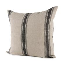 Hattie 20L x 20W Beige and Black Fabric Striped Decorative Pillow Cover