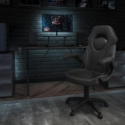 Gallery - Black Gaming Desk and Black Racing Chair Set with Cup Holder, Headphone Hook, and Monitor\/Smartphone Stand