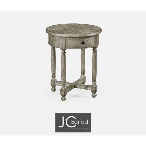 Round Side Table for Contrast Inlay in Rustic Grey