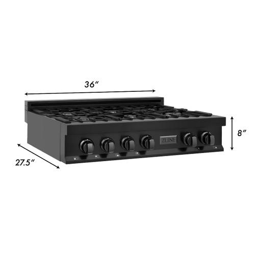 ZLINE 36 in. Porcelain Rangetop in Black Stainless with 6 Gas Burners (RTB-36)