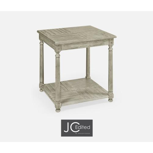 Rustic Grey Parquet Square Lamp Table with Contrast Inlay
