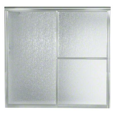 "Deluxe Sliding Bath Door - Height 56-1/4"", Max. Opening 59-3/8"" - Matte Silver with Rain Glass Texture"