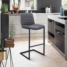 "Lucas Contemporary 30"" Bar Height Barstool in Black Powder Coated Finish and Grey Faux Leather"