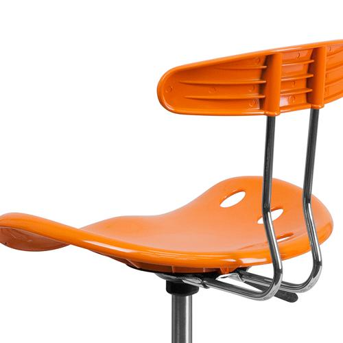 Flash Furniture - Vibrant Orange and Chrome Drafting Stool with Tractor Seat