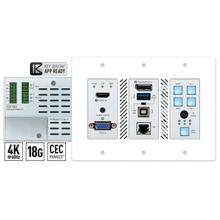 COMNG SOON! SHIPPING Q4 2020 - 3x1 4K 18G 428 ft (100m) HDBaseT Transmitter Wall Plate with Auto Switching, HDMI, DisplayPort and VGA Inputs, USB 2.0, LAN, CEC Control Keypad, Audio De-Embed, IR and RS-232 Pass-Thru, IP Control, Power over HDBaseT. KD-App and KDPlug & Present™ Ready.