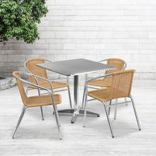 See Details - 31.5'' Square Aluminum Indoor-Outdoor Table Set with 4 Beige Rattan Chairs