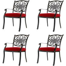 Hanover Set of 4 Traditions Aluminum Outdoor Dining Chairs with Red Seat Cushions, AAF06000F04-4