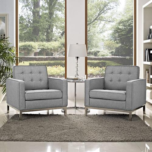 Loft Armchairs Upholstered Fabric Set of 2 in Light Gray