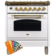 Nostalgie 30 Inch Dual Fuel Natural Gas Freestanding Range in Custom RAL Color with Brass Trim