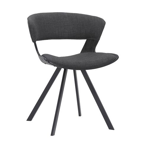 Ulric Black Brushed Wood and Charcoal Upholstered Dining Room Accent Chair