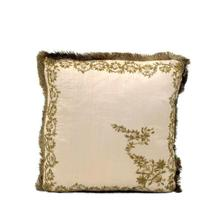 Beige Silk Embroidered Pillow