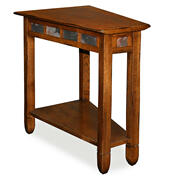 Rustic Oak Slate Tile Wedge Side Table #10056 Product Image