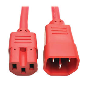 Power Cord C14 to C15 - Heavy Duty, 15A, 250V, 14 AWG, 2 ft., Red