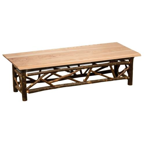 Fireside Lodge - Twig Bench - 48-inch - Natural Hickory - Wood seat