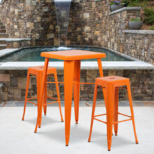 "Commercial Grade 23.75"" Square Orange Metal Indoor-Outdoor Bar Table Set with 2 Square Seat Backless Stools"