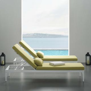Perspective Cushion Outdoor Patio Chaise Lounge Chair in White Peridot
