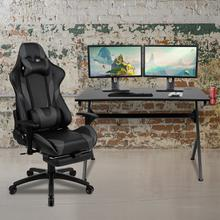 Black Gaming Desk and Gray Footrest Reclining Gaming Chair Set with Cup Holder, Headphone Hook & 2 Wire Management Holes