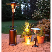Hanover 7-Ft. 48,000 BTU Steel Umbrella Propane Patio Heater in Hammered Bronze, HAN001BR