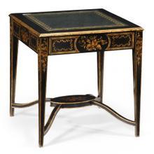 Black & eglomis e square side table