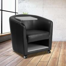 Black LeatherSoft Guest Chair with Tablet Arm, Chrome Legs and Under Seat Storage
