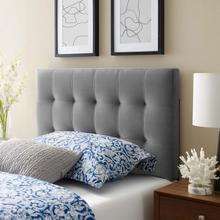 View Product - Lily Biscuit Tufted Twin Performance Velvet Headboard in Gray