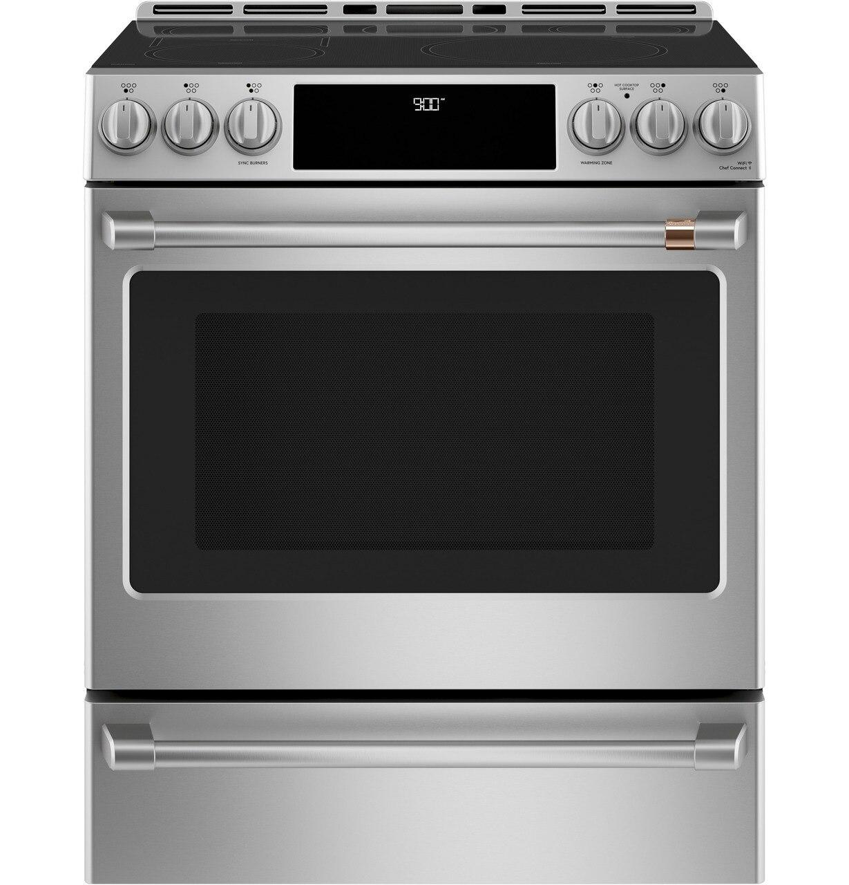 """Cafe30"""" Smart Slide-In, Front-Control, Induction And Convection Range With Warming Drawer"""