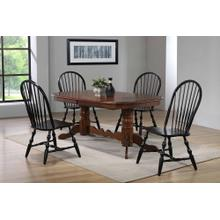 DLU-ADW4296CT-C30-AB5PC  Andrews 5 Piece Double Pedestal Dining Set  Chestnut Table with Antique Black Windsor Chairs