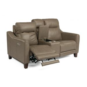 Flexsteel  Forte Power Reclining Loveseat with Console & Power Headrests