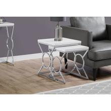 NESTING TABLE - 2PCS SET / GLOSSY WHITE / CHROME METAL