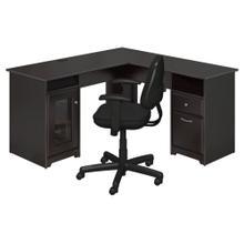Cabot L Shaped Computer Desk and Chair Set - Espresso Oak