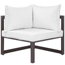 Fortuna Corner Outdoor Patio Armchair in Brown White