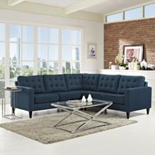 See Details - Empress 3 Piece Upholstered Fabric Sectional Sofa Set in Azure