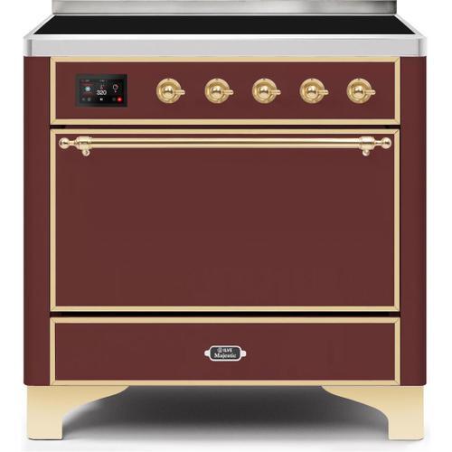 Majestic II 36 Inch Electric Freestanding Range in Burgundy with Brass Trim