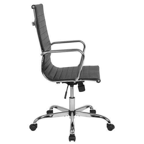 High Back Black LeatherSoft Mid-Century Modern Ribbed Swivel Office Chair with Spring-Tilt Control and Arms