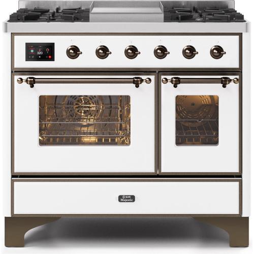 Majestic II 40 Inch Dual Fuel Liquid Propane Freestanding Range in White with Bronze Trim
