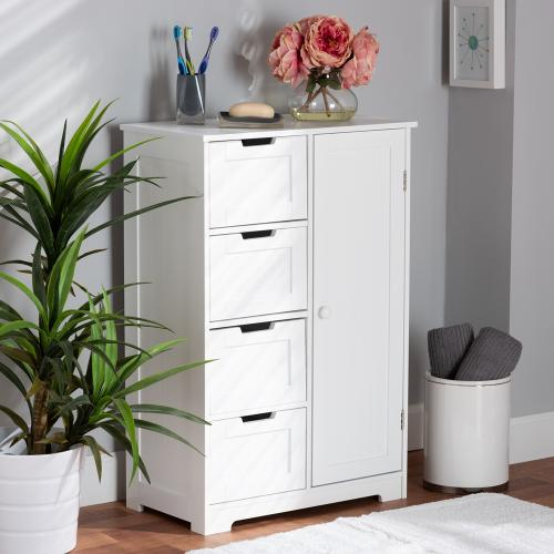 Wholesale Interiors - Baxton Studio Bauer Modern and Contemporary White Finished Wood 4-Drawer Bathroom Storage Cabinet