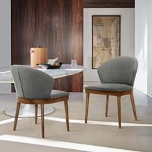 View Product - Juno Charcoal Fabric and Walnut Wood Dining Side Chairs - Set of 2