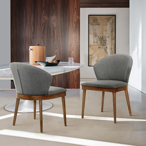 Armen Living - Juno Charcoal Fabric and Walnut Wood Dining Side Chairs - Set of 2