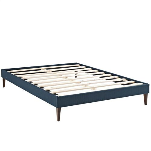 Tessie Queen Fabric Bed Frame with Squared Tapered Legs in Azure