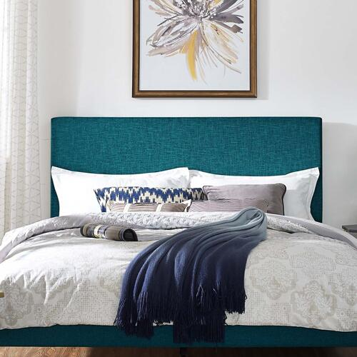 Taylor Full / Queen Upholstered Linen Fabric Headboard in Teal