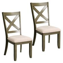 Omaha 2-Pack X-Back Side Chairs with Upholstered Seat, Grey