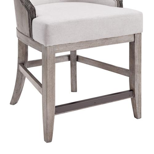 "Stone-Textured Resin and Ash Wood 24"" Counter Stool in Cream"
