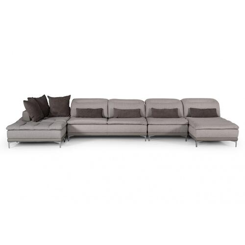 David Ferrari Horizon Modern Grey Fabric & Grey Leather Sectional Sofa
