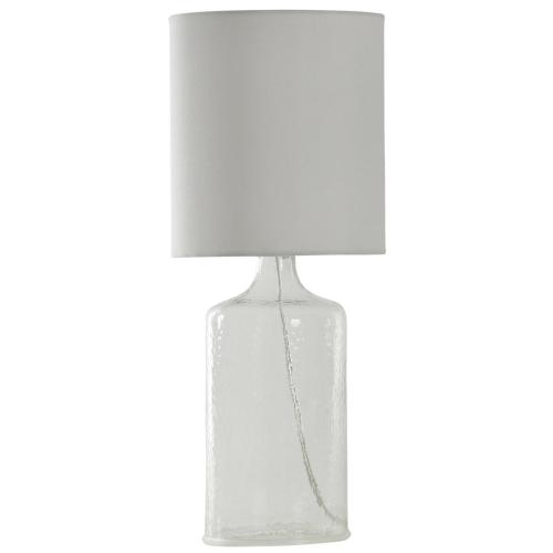 L23569  Seeded glass in clear 21.5 in tall with white linen shade