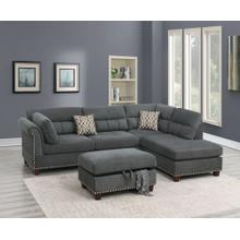 Claudia 3pc Sectional Sofa Set, Slate-velvet