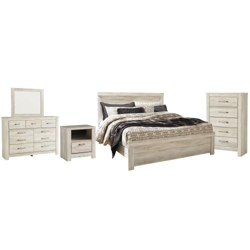 Ashley - King Panel Bed With Mirrored Dresser, Chest and Nightstand